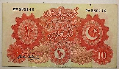 1948 - 1949 No Date Issue P6 10 Rupees Bank Note From The Government of Pakistan