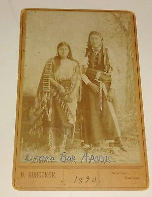 1880s Cabinet Image Dressed Apache Indian Man & Girl by Dave Rodocker