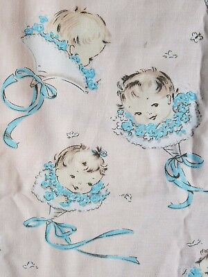 RARE Vintage 1940s Baby Bouquet Butterfly Juvenile Novelty Fabric COTTON 2 YARDS