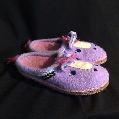 Garnet Hill Boiled Wool Mule Slippers Horse Size 3 Youth
