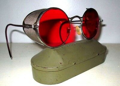 Antique WWII Red Welsh Sunglasses Goggles Spectacles Vtg Retro Steampunk Glasses