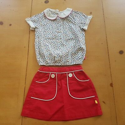 Mothercare Jools Little Bird Girl's Floral Top, Red Skirt Set Size 2 - 3 Years