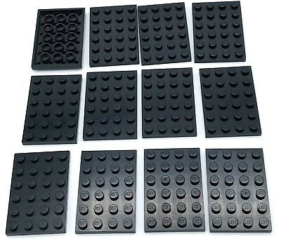 Lego 4x6 Plate Black Lot of 6 New