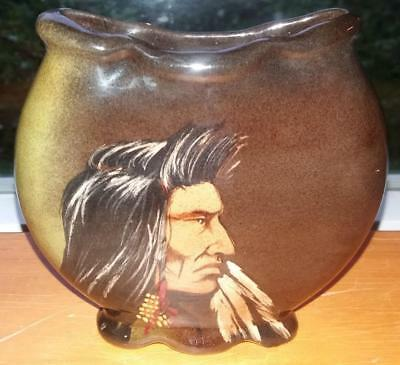 Vintage c.1910 Vase with Face of Native American Indian on Front