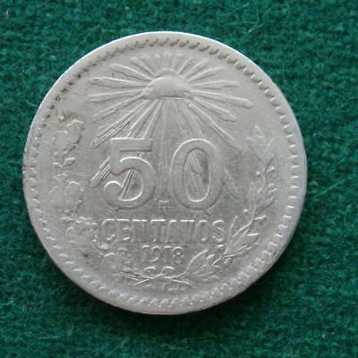 1918 Mexico Silver 50 Cents Radiant Cap Mexican Coins Km 446 Scarce Date