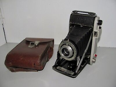 Vintage Kodak Junior II Folding Film Camera with Leather Case In Good Condition