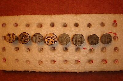 1971-1975 ROUND RAISED POLE DATE NAILS – Total 8 - Lot #139 - misc nail tie