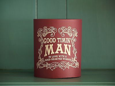"""Vintage Waylon Coolie-""""Good Timin' Man"""" maroon with white lettering"""