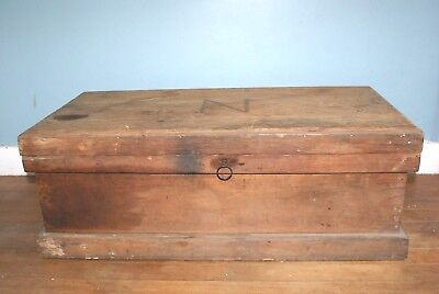 Antique Handmade Carpenter's Wood Tool Box Chest w Lock and Key Inlaid N on Lid