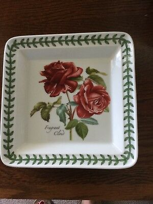 "Portmeirion Botanic Roses Square Salad Plate 8.5"" 'Fragrant Cloud'"