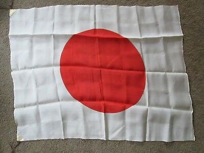 Vintage World War 2 Japanese Silk Rising Sun Flag 34 X 27 Inches Leather Corners