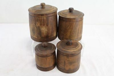 Vintage Wooden Kitchen Canisters by Mort N. Marton Corp