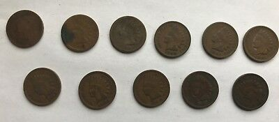 Lot of 11 Indian Head Pennies, 1880-1908; Price Reduced