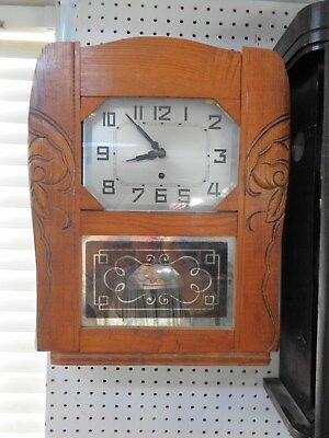 Vintage Single Wind French Wall Clock Art Deco Style Runs Well