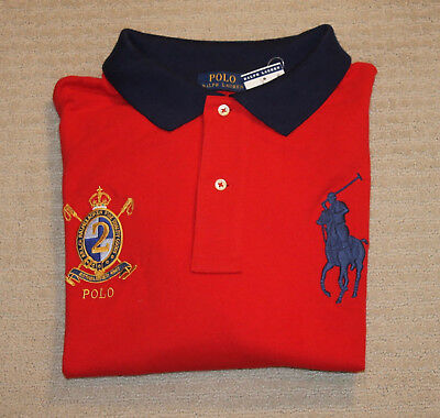 NEW Polo Ralph Lauren Big and Tall Big Pony Crest Logo Red Blue Polo Shirt