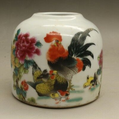 Chinese old porcelain Hand painted famille rose chicken pattern wash c01