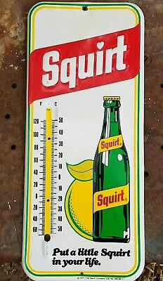 Advertising Thermometer Sign Squirt Soda Pop Original 1977