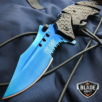 TAC-FORCE Blue Military Spring Assisted Open Tactical Rescue Pocket Knife NEW -T