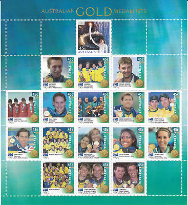 Australian 2000 Olympic Gold Medalists mint unhinged sheet of 17 x 45c stamps