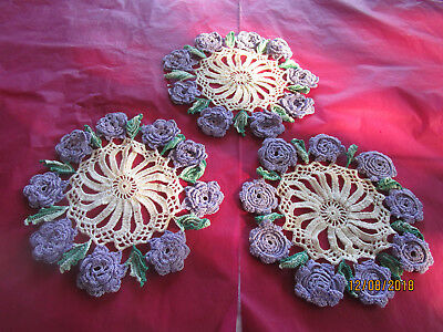 3 Matching Crocheted Doilies -White With Mauve Flowers, Green Leaves