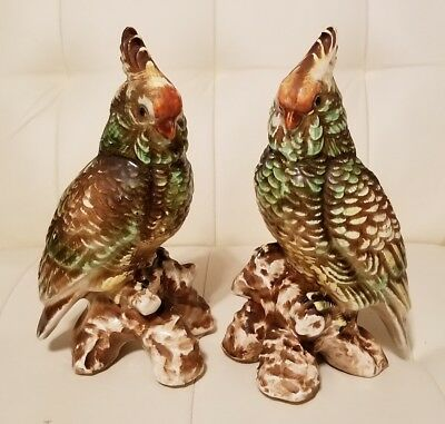 Set Of 2 Vintage Parrot Cockatoo Figurines Collectible Pair Birds Tropical