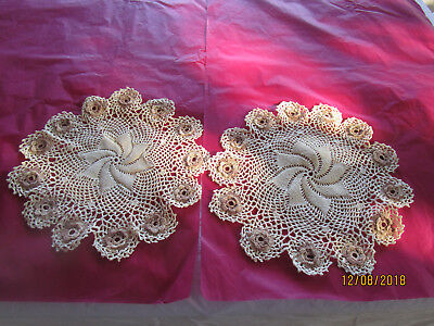 2 Matching Crocheted Doilies Cream With Shades Of Brown Flowers