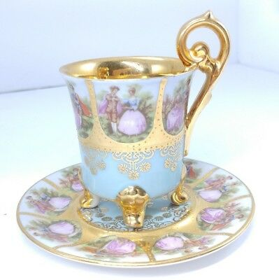 Vintage Royal Vienna Demitasse Footed Cup and Saucer Courting couple Gold Gilt
