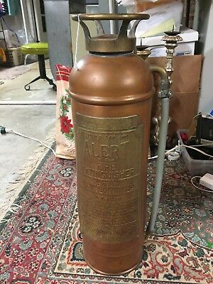 Alert American LaFrance Fire Engine Antique Copper Brass Fire Extinguisher