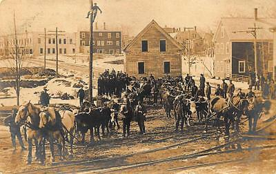 Sanford ME Moving a House Horses Steers Trolley Tracks Sanford Mills  RPPC