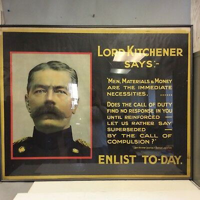 "WWI Original Poster, ""Lord Kitchener Says"" 40"" X 50"""