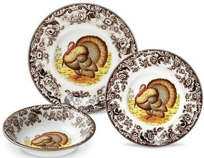Spode Woodland Turkey 12-pc Dinnerware Set Service for 4 MADE IN ENGLAND NEW
