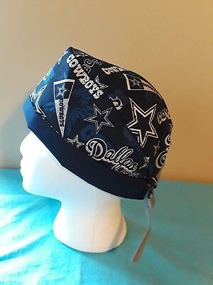 Dallas Cowboys Pennant Men's Skull/Chemo Surgical Scrub Hat/Cap Handmade