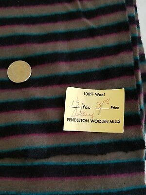 Vintage Pendelwon Mills Wool Fabric Striped Black Gray Blue Remnant Holes