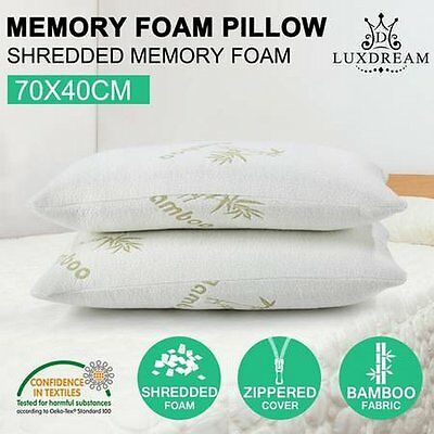 NEW 2x Luxdream Pressure Relief Shredded Memory Foam Pillow with Bamboo Cover