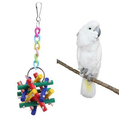 Durable Parrot Bite Gnaw Toys Square Magic Cube Toy Colorful Wooden Bar Bird Toy