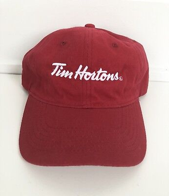 Tim Hortons Red Soft Canvas Baseball Hat Cap Adjustable Strap NEW WITHOUT TAGS