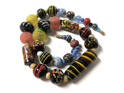 Vintage Antique African Trade Bead Venetian Glass Old Marbles Necklace Rare