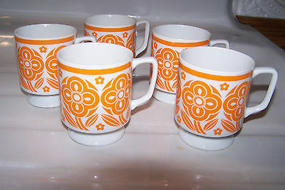 Vintage Set of 5 Floral Retro Footed Ceramic Coffee Cups