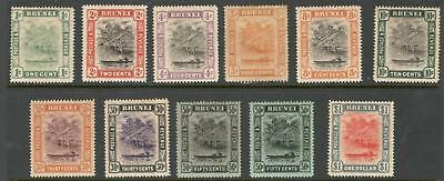 "Brunei – 1907 - 16 ""water Village & Taxi"" Def. 11 Diff. To $1 (Mint)"