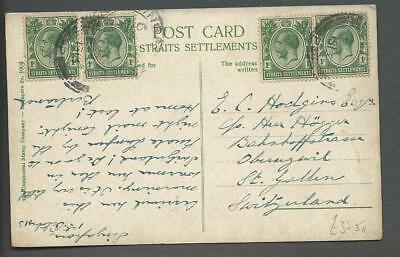 Singapore - 1913 Kgv Picture Postcard To Switzerland