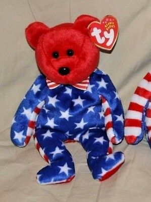 NEW TY Beanie Babies - Red Face Liberty Bear