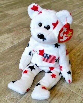 NEW TY Beanie Babies - Red, White & Blue Star Liberty Bear