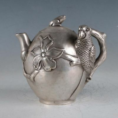 Exquisite Chinese Silvering Copper Handwork Carved Birds & Flowers Teapots