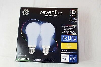 New GE Reveal LED 100W Replacement, 12.5W HD+ Light Bulbs, 2 Pack
