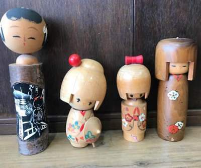 Antique Kokeshi Japanese doll 4 pcs Japan retro popular rare beautiful EMS F/S!