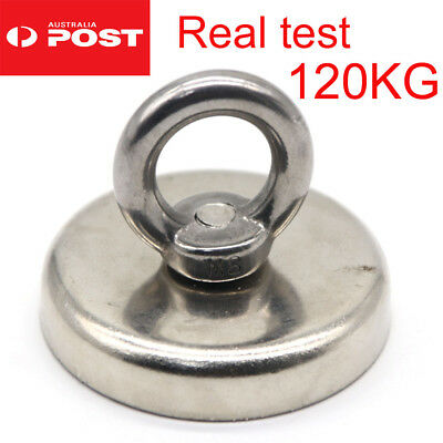 Measured 120Kg Salvage Strong Recovery Magnet Neodymium Hook Treasure Hunting