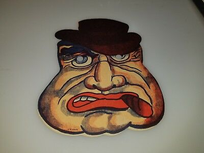 "VINTAGE 1950s 60s CARDBOARD HORROR MONSTER SCARY MAN MASK 5"" X 7"" CLEAN RARE!"