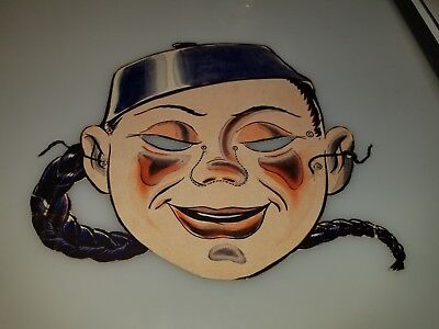 "VINTAGE 1950s 60s CARDBOARD HORROR MONSTER ASIAN MAN MASK 8"" X 9"" CLEAN RARE!"