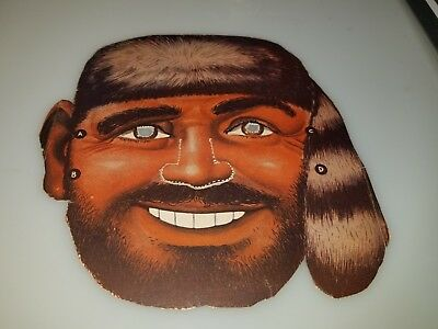 "VINTAGE 1950s 60s CARDBOARD HORROR MONSTER BEARDED MAN MASK 8"" X 8"" CLEAN RARE!"