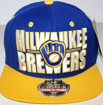 MLB AMERICAN NEEDLE Milwaukee Brewers Two Tone Fitted Blue Green 7 3 ... a3a3d7225262